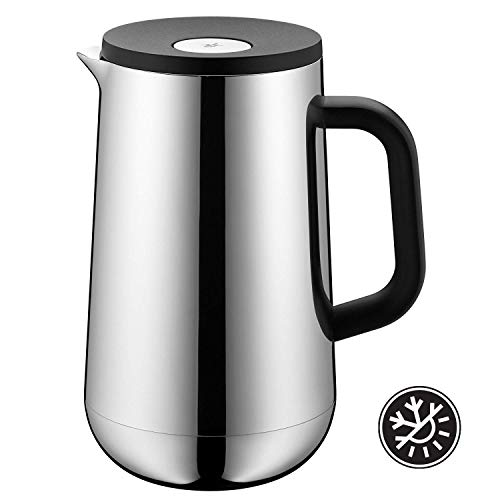 WMF Isolierkanne Thermoskanne Impulse Cromargan Edelstahl, 1,0 l, für Tee oder Kaffee, Druckverschluss hält Getränke 24h kalt und warm