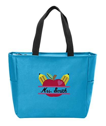 Personalized Canvas Tote Bag with Customizable Teacher's Apple Monogram Shoulder Bag for School Work Travel and Shopping (Turquoise)