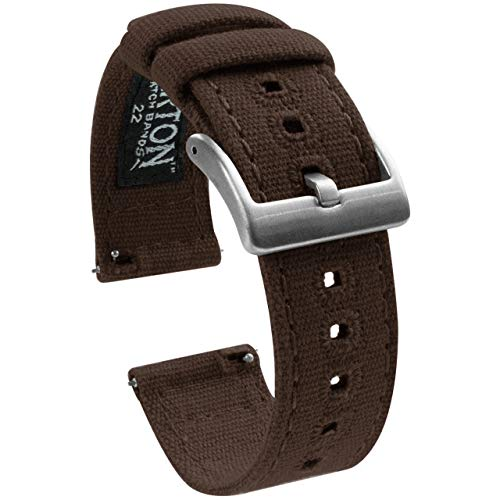 20mm Chocolate Brown - Barton Canvas Quick Release Watch Band Straps - Choose Color & Width - 18mm, 19mm, 20mm, 21mm, 22mm, 23mm, or 24mm