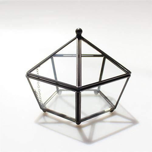 MINGZE Terrario de Estilo Retro con Patas pequeñas de Cobre Dorado, Cristal Transparente, Forma joyero pentagonal, para Plantas, para Escritorio, con Tapa basculante (Negro El Cobre)