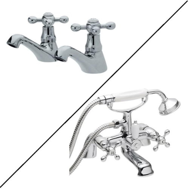 Traditional Bathroom Basin Taps and Bath Shower Mixer Bundle Stylish Crosshead Control Handles