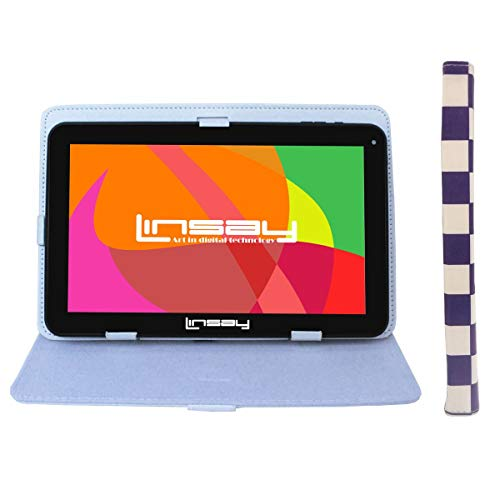 """LINSAY 10.1"""" 1024x600 HD Quad Core 16GB Android 6.0 Tablet with Square Case - White and Purple Squares"""