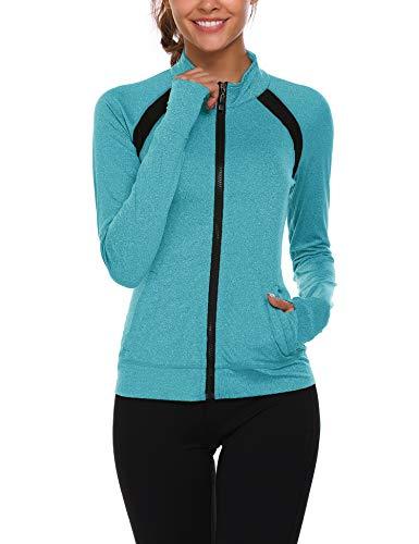 Parabler Laufjacke Damen Sportjacke Trainingsjacke voll Reißverschluss Trainingsanzug mit Daumenloch und Seitentasche Fitness Grün HellGrün M
