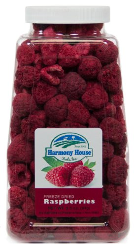 Harmony House Foods Freeze Dried Whole Raspberries (3.5 oz Jar)
