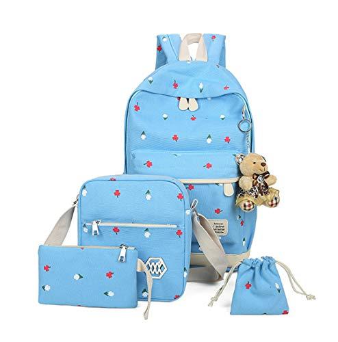 Juego de 4 piezas de lona mochila escolar, mochila escolar para adolescentes y niñas, azul celeste (Azul) - RS190812