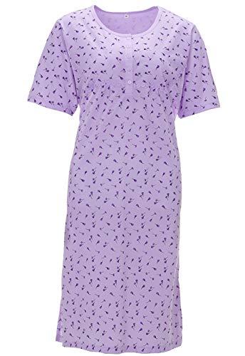 Zeitlos Damen Nachthemd Kurzarm Spitze Knöpfe Yasmin, Farbe:lila, Größe:XL