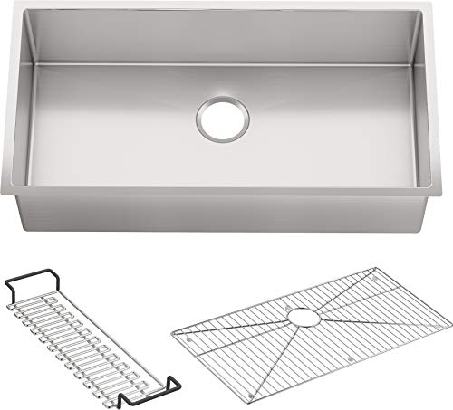 KOHLER K-5283-NA Strive 35-Inch x 18-5/16-Inch Undermount Extra-Large SingleBowl Kitchen Sink with Basin Rack, Stainless Steel