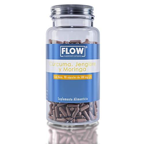 FLOW Cúrcuma + Jengibre + Moringa, Suplemento alimenticio (90 cápsulas de 500 mg)
