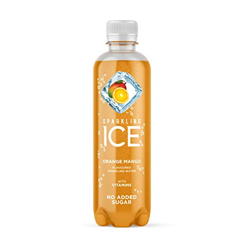 Sparkling Ice Orange Mango Sparkling Water with antioxidants and Vitamins, No Sugar, 400ml Bottles (Pack of 12)
