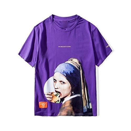 GVDFSEYL Meisje Met Een Parel Oorbel T Shirts Mannen Grappige Gedrukt Korte Mouw Streetwear Tshirts Mannelijke Hip Hop Casual Tops Tees