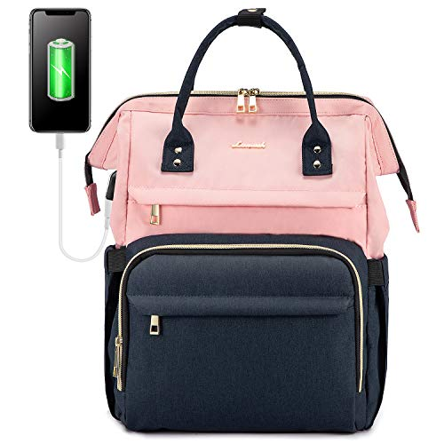 Laptop Backpack for Women Fashion Business Computer Backpacks Travel Bags Purse Student Bookbag Teacher Doctor Nurse Work Backpack with USB Port Fits 15.6 Inch Laptop Pink Navy