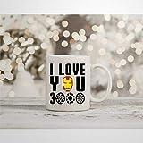 Taza de café inspirada en Marvel Endgame I Love You 3000 Tony Stark Iron Man Superhéroe, de...