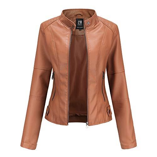 ライダースジャケット ダブル フェイクレザーブルゾン アウター レディース ジャケット バイカージャケット 革ジャン 5色 PU Leather Jackets レザー,5-camel,L