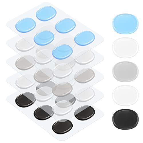 Jinhuaxin Lagrimas Silicona, 30 Piezas Topes Silicona Suave, Topes Adhesivos Transparentes, Almohadilla Autoadhesiva, Amortiguación de Ruido, Protector Antigolpes, Búfer Muebles, 4 Colores