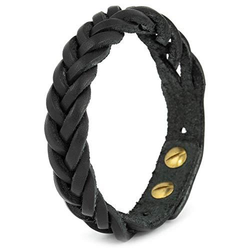 Simaru Lederarmband Herren aus pflanzlichem Echt-Leder, Geflochtenes Herrenarmband/Lederarmband für Männer größenverstellbar (schwarz)