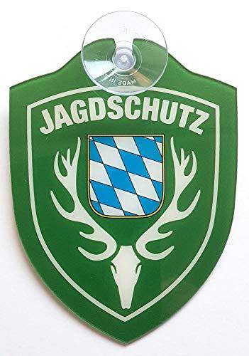 Schilder Einsatzschild für Windschutzscheibe inkl. Saugnapf - Jagdschutz Bayern(Wappen Jagdschutz Bayern)