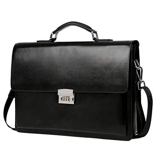 ZYL-YL Business-Herrentasche, Aktentasche, Cross-Country-Code-Schloss, Umhängetasche, Große Kapazität (Color : Black)
