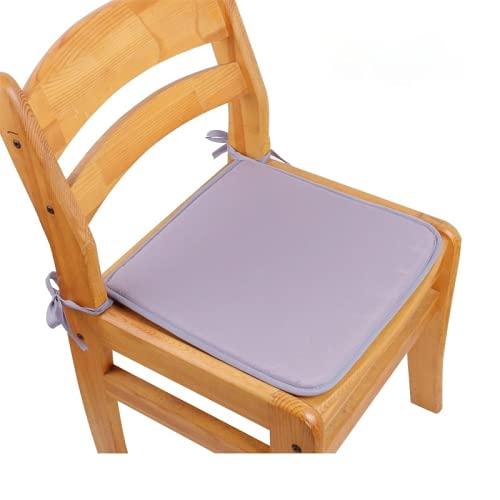 Eogrokerr Juego de 2 cojines para silla con lazos, asiento suave y cómodo, barra antideslizante para interiores y exteriores, sala de estar, patio, jardín (gris claro, 40 x 40 cm)