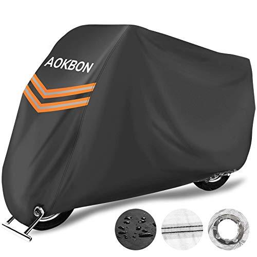 AOKBON Cubierta de la Moto Impermeable Funda para Motocicleta Resistente al Viento Cubierta UV Protectora de Poliéster para Protección al Aire Libre