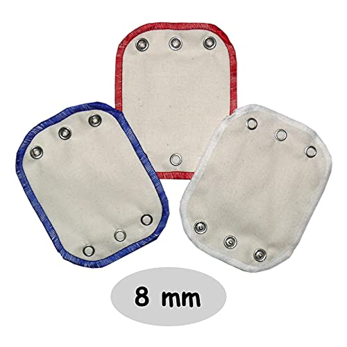 Kabea Universal Bodyverlängerungen 3er Pack aus Bio-Baumwolle (Druckknopfgröße: Mittel / 8 mm, Rot/Weiß/Blau)