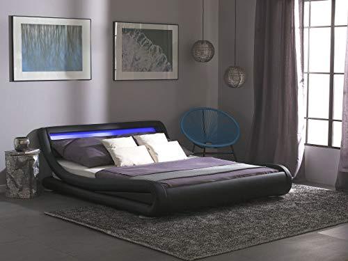 Wasserbett mit LED Lattenrost schwarz Kunstleder 140x200 cm Bettrahmen Avignon