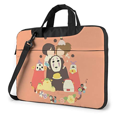 14 inch Laptop Sleeve Bag, Spirited Away Tablet Briefcase Ultra Portable Protective Shoulder Shockproof Laptop Canvas Cover MacBook Pro