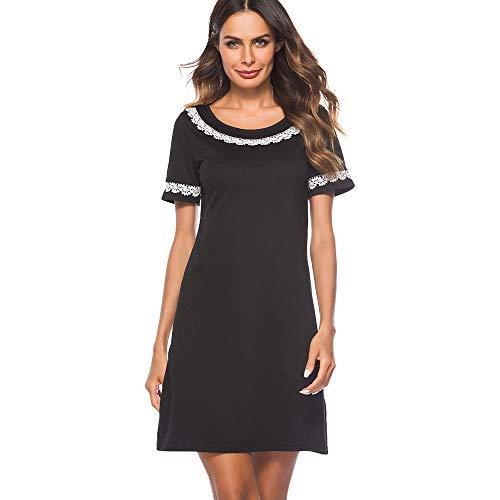 GMZA Nice-forever elegante korte zwarte kleur ronde hals met kanten vestidos korte mouw werk vrouwen rechte shift zomerjurk