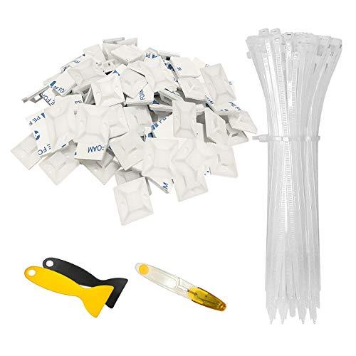 Hipeqia Kabelbinder Set, 200 Stücke (150 mm x 2,5 mm) Nylon-Kabelbinder und 100 Stücke Kabelbinderhalter (20 mm x 20 mm) Selbstklebend, UV-beständig, Hitzebeständig, Weiß, mit Spatel und Schere