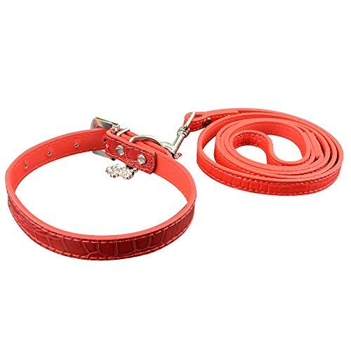 Einstellbare Hundehalsband Leine Gesetzt Ledermode Charme Kleines Mittleres Hundehalsband Und Passende Leinen Blei Rot Rot Set L.
