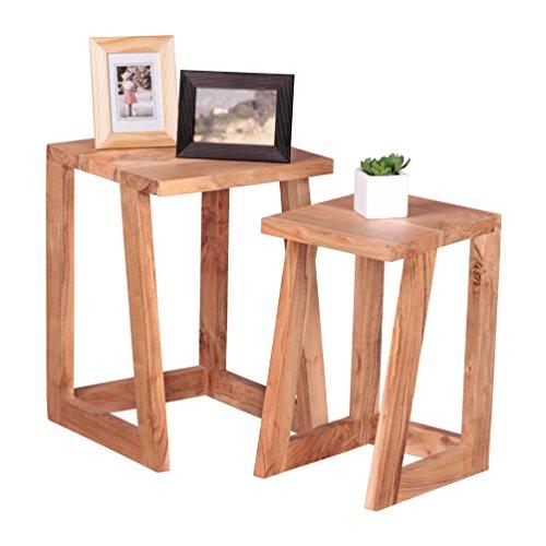 WOHNLING 2-delige set bijzettafels massief hout acacia design salontafel woonkamertafel rond salontafel natuurhout donkerbruin nachtkastje landhuisstijl nachtkastje onderstel telefoontafel 50 cm hoog