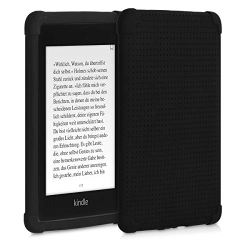 kwmobile Case Compatible with Amazon Kindle Paperwhite (10. Gen - 2018) - Soft Protective TPU e-Reader Back Cover - Perforated Black