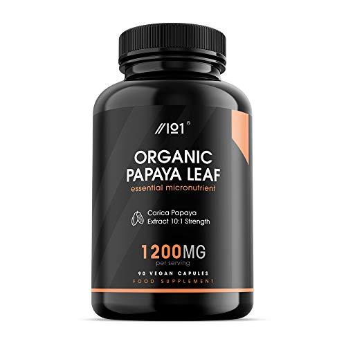 Bio Papaya Blatt Kapseln - 1200mg - Carica Papaya Extrakt 10:1 - Non-GVO, glutenfrei, 90 Vegan Caps. (1 Pack)