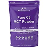 C8 MCT Polvo Puro (bolsa de 500 g)   0g de carbohidratos netos   Alta carga de aceite C8 MCT de 65% puro   Todos los ingredientes naturales   Sin gluten ni lácteos   Sin Sabor   Ketosource®