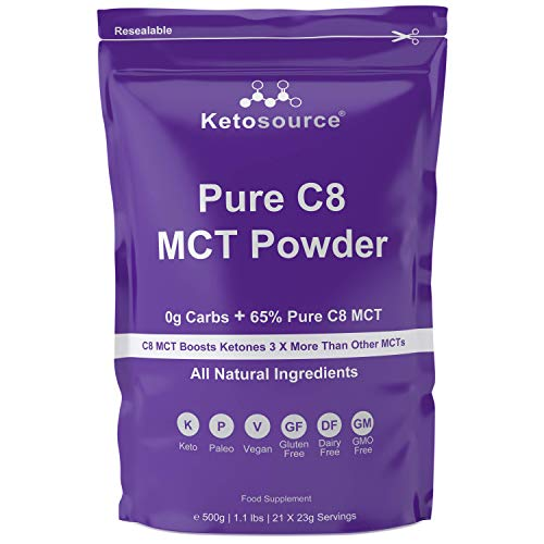 Pure C8 MCT Powder (500g Pouch) | 0g Net Carbs | High 65% Pure C8 MCT Oil Load | All Natural Ingredients | Gluten & Dairy Free | Plain Flavour | Ketosource