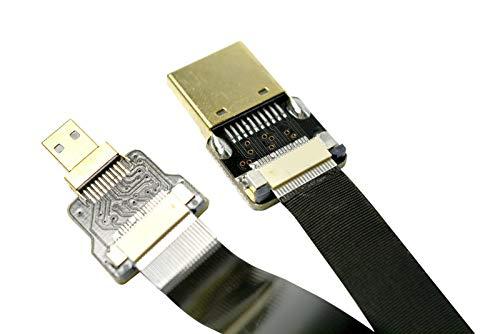 Slim Soft Micro HDMI Straight Male to Standard HDMI Normal HDMI Full HDMI Compatible with panasonic lumix GH4 GOPRO blackmagic BMPCC Sony Alpha Sony A5000 A6000 A7R A7S A6300 A6500 50CM Black
