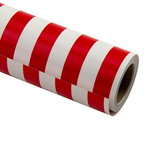 RUSPEPA Wrapping Paper Roll - Red Vertical Stripe White Background Design for Wedding, Birthday, Shower, Congrats, and Holiday - 30 inches x 32.8 feet