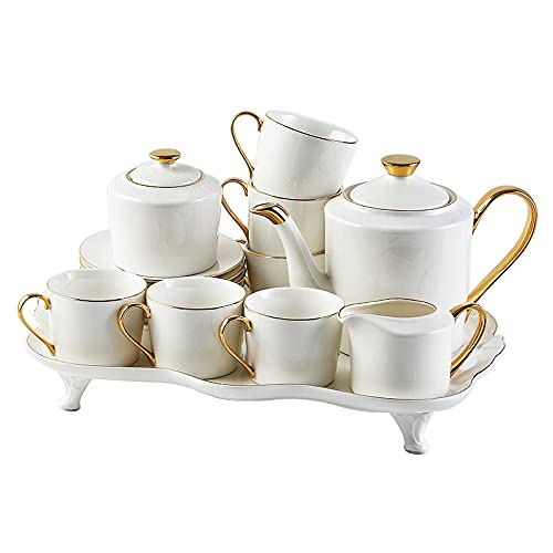 Coffee Cups And Saucers Tea Set For Adults White Porcelain Tea Sets Coffee Tea Gift Sets For Tea Coffee Afternoon Tea Party