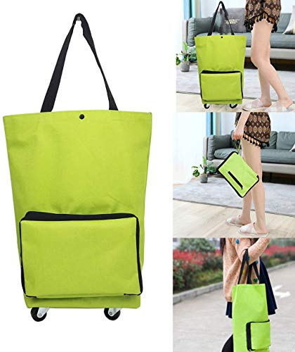 MYUANGO Trolley Folding Shopping Bag Reusable with Wheels Tote Portable Hand-pulling Utility Collapsible With Hand-straps Zipped Handbag Folding Shopping Bag for Kitchen, Travel and School Grocery