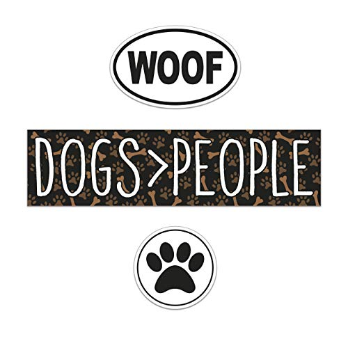 3 Pack Vinyl Car Stickers Bumper Sticker, Euro Oval Sticker and Circle Sticker. Weatherproof, Trendy Black and White Decal Stickers with Dogs Over People, Woof, and Paw Print Design.