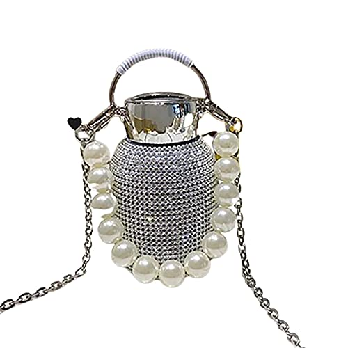 Botella de agua de diamantes de imitación, botella de agua brillante, nueva botella de agua termo de diamantes con pulsera de perlas, solo sentimientos románticos y cálidos, y extraordinarios (Silver)