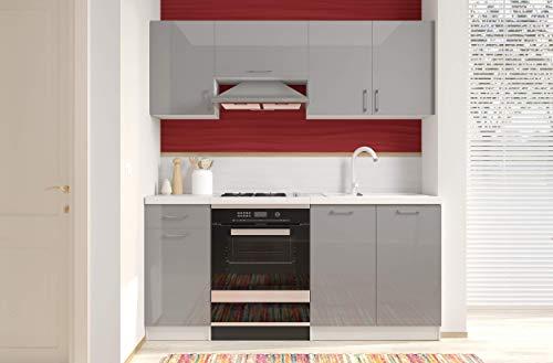 Arreditaly Cucina Componibile Completa di Mobili Pensili Sospesi e Mobili Base Cucinino Moderno in Laminato da 180 Cm da Incasso (Grigio Lucido Laccat