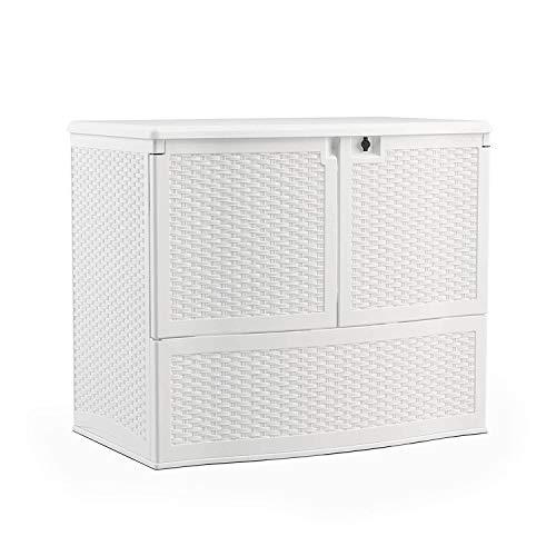 Suncast 195 Gallon Backyard Oasis Storage Shelf and Entertaining Station, White