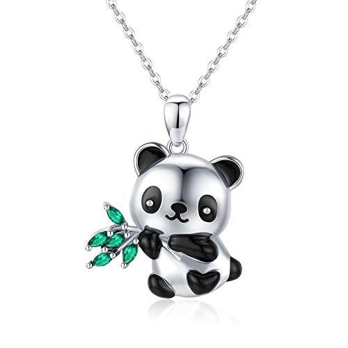 Collana con ciondolo a forma di animale, con volpe, Koala, in argento 925, a forma di cuore, con bambù, regalo per donne e ragazze, Argento,