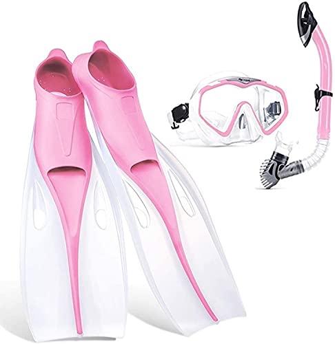 Mascara Buceo Máscaras de Buceo con máscaras Profesional Snorkeling Set Silicone Anti-Fog Gafas Gafas Aletas de natación Conjunto Equipo de Buceo para Adultos y niños (Color : Pink 2, Size : M)