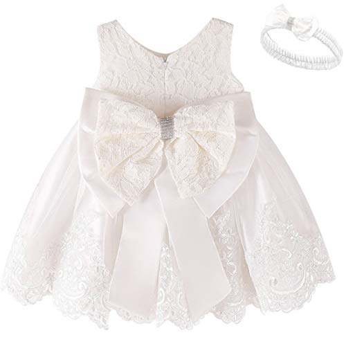 FKKFYY Girls White Dress for Little Girls Church Christening Dresses for Baby Girls Sleeveless Knee Length Special Occasion Dress A-Line Party Holiday Christmas Pageant Dress for Toddlers (White 6M)