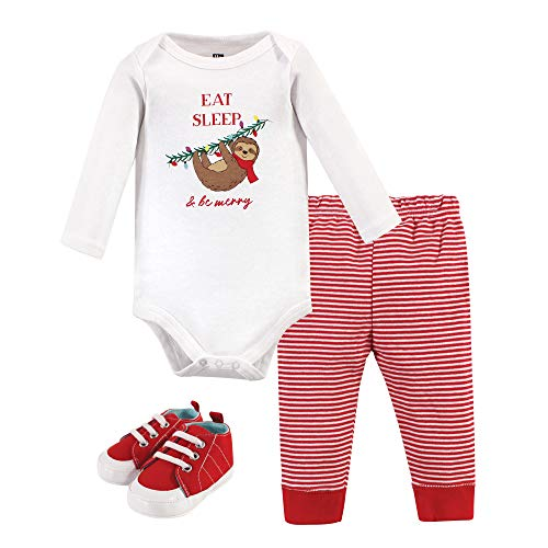 Hudson Baby Unisex Baby Cotton Bodysuit, Pant and Shoe Set, Christmas Sloth, 6-9 Months