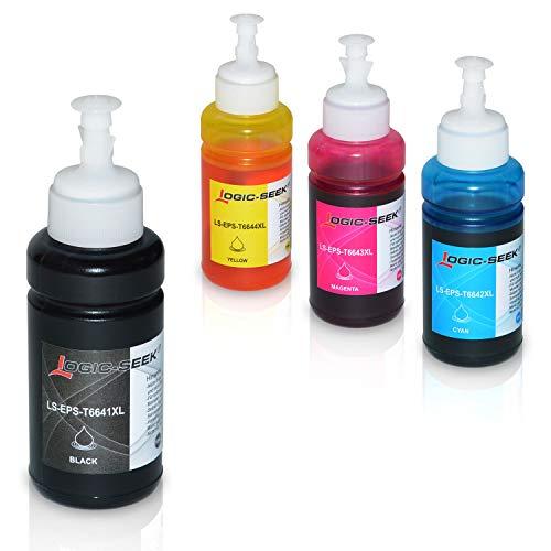 4 Tinten kompatibel für Epson EcoTank L300 L350 L355 L365 L455 L550 L555 L565 L655 L100 L200 ET2550 ET2500 ET4500 ET4550 T6641 T6642 T6643 T6644, je 70ml