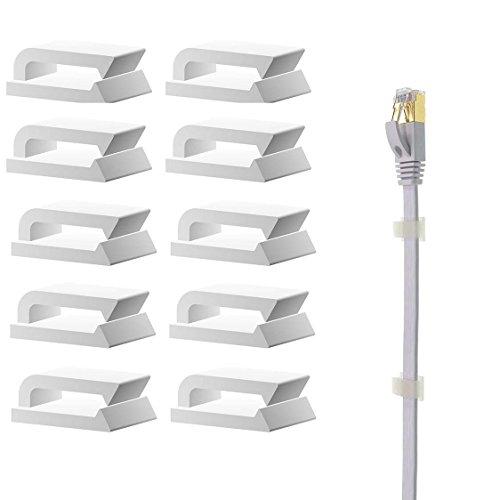 2 Arten kabelhalter selbstklebend / Kabelclips, 120 Stück Kabelklemmen für Ethernet Kabel (Weiß)