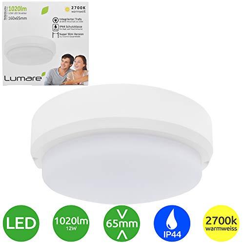 Lumare LED Deckenleuchte 12W 1020lm extra flach IP44 65mm Tiefe 2700K 230V LED Deckenlampe Kinderzimmer Badezimmer warmweiss