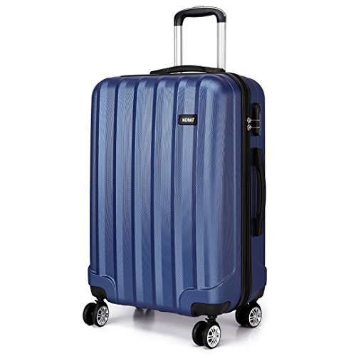 Kono 24 Inch Hard Shell Luggage Lightweight ABS with 4 Spinner Wheels Business Trip Trolley Case Suitcase (Navy)